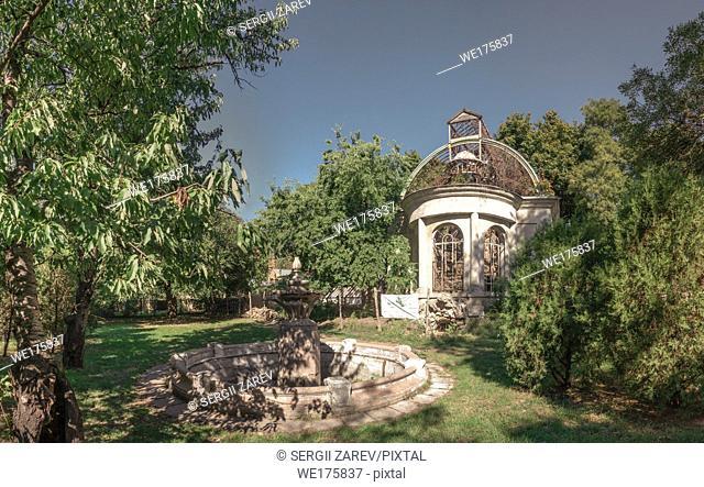 Old abandoned Chkalov sanatorium in Odessa, Ukraine, in a sunny summer day