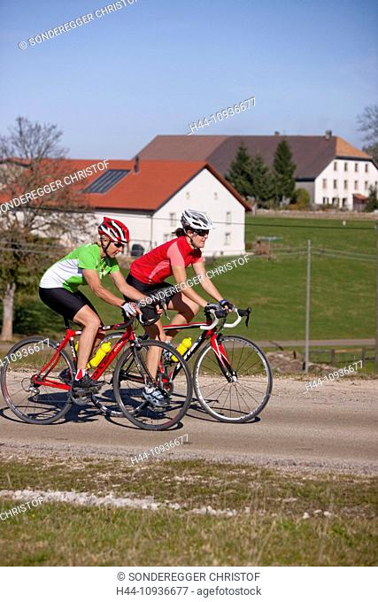 Cyclist, biker, to free mountains, Les Rouges-Terres, canton, JU, Jura, autumn, bicycle, bicycles, bike, riding a bicycle, Switzerland, Europe, women, sport