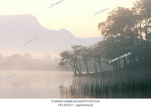 Loch Awe at dawn mist over water. Argyll. Scotland