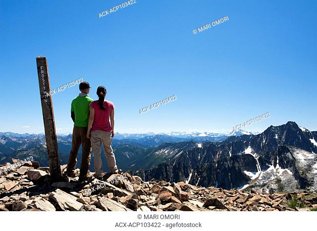 Hikers at the peak of Frosty Mountain at Manning Park. Model Release signed