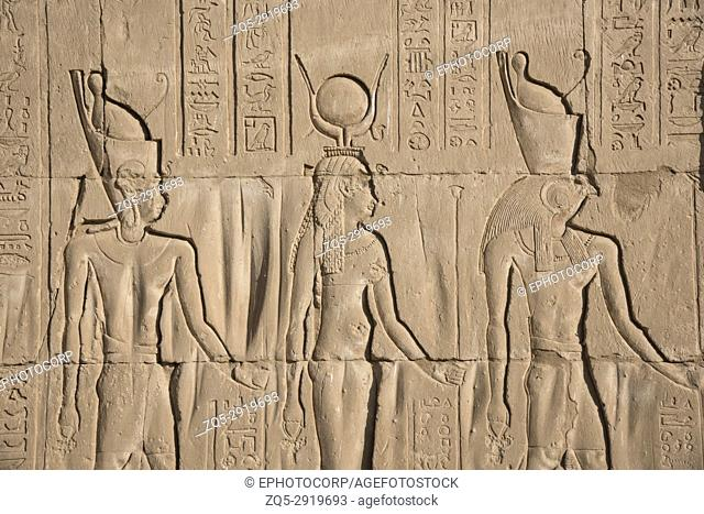 Carvings on the inner wall of Edfu Temple, It is one of the best preserved shrines in Egypt, Dedicated to the falcon god Horus