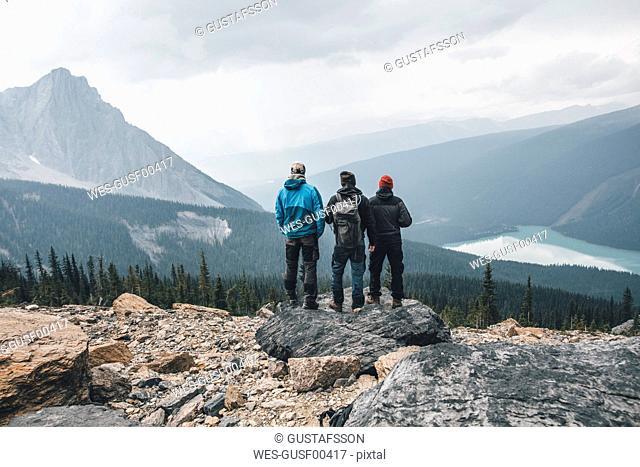 Canada, British Columbia, Yoho National Park, hikers at Mount Burgess looking at Emerald Lake