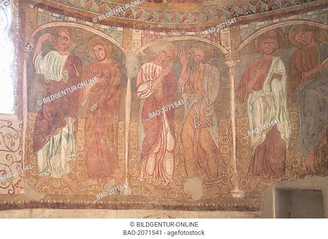 the roman frescoes at the church St. Jakob in Kastelaz near Tramin, Termeno sulla strada del vino, Trentino, Italy