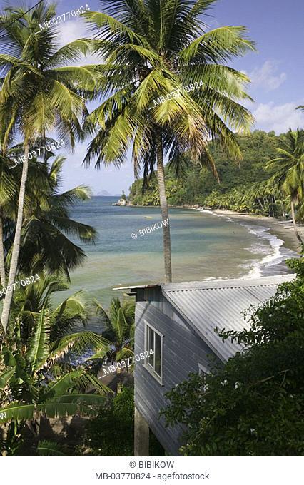 Grenada, West coast, Duquesne  Bay, palm beach, Holzhütte  Caribbean, West Indian islands, little one Antilles, islands over the wind, island, west, coast, bay
