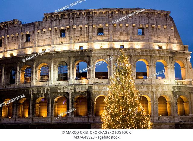 Italy. Rome. Colosseo at Christmas time
