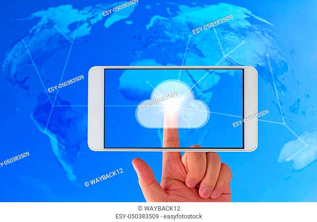 Cloud computing technology concept, hand touch on mobile phone, business connectivity with copy space, Elements of this image furnished by NASA