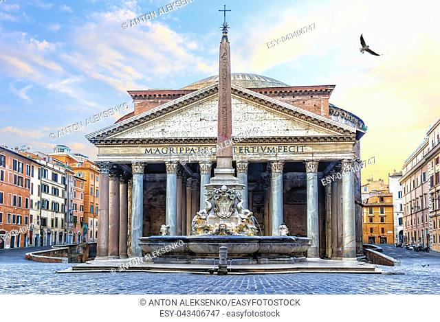 Pantheon in Rome, Italy, view on the temple and the fountain with a column in Rotonda Sqaure