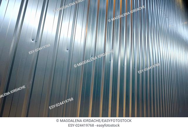 Folded metal zinc sheet in warehouse