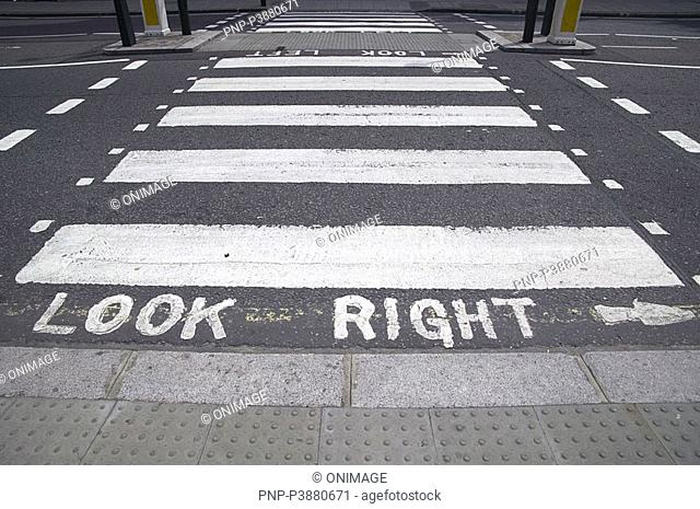 'look right' at zebra-crossing