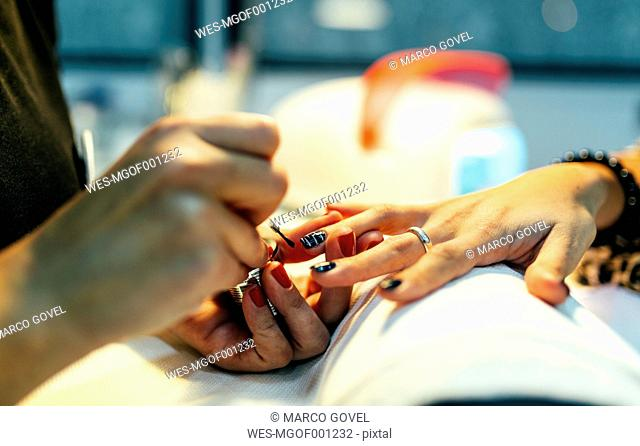 Nail grooming in beauty salon