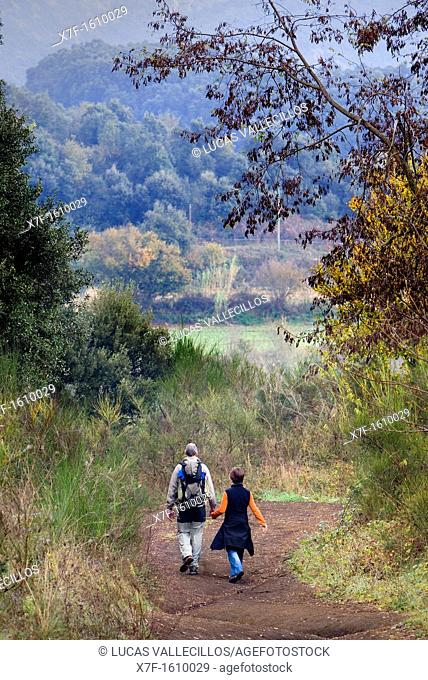 Way to the crater of Croscat Volcano,Garrotxa Natural Park,Girona province  Catalonia  Spain