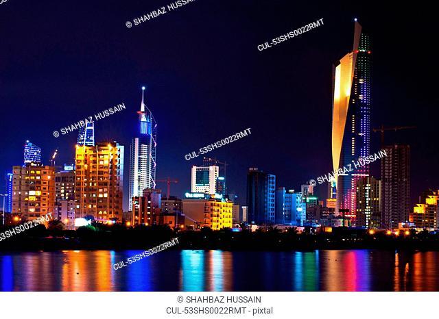 Kuwait City skyline lit up at night