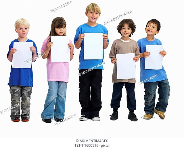 Children holding paper