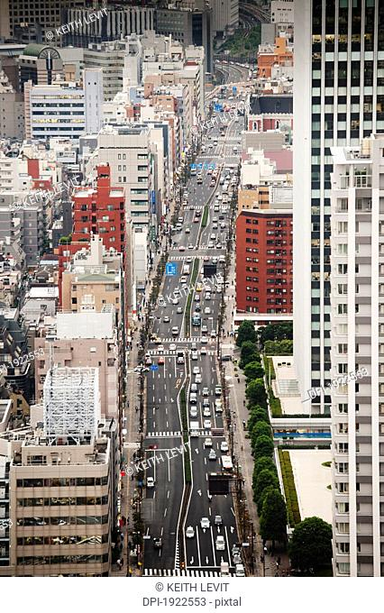 view of skyscrapers and busy streets, tokyo, japan