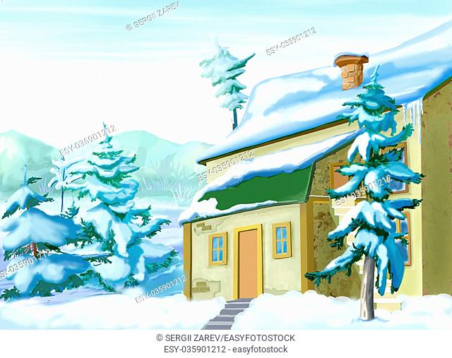 Snow Covered Vacation Home in a Snowy Winter Day. Handmade illustration in a classic cartoon style