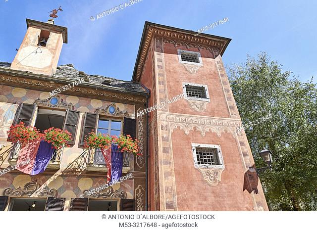 Detail of a XIX century building once used as town hall. Santa Maria Maggiore. Province of Verbano-Cusio-Ossola. Piedmont. Italy