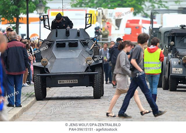 Historical military vehicles are visible on a film set in Halberstadt, Germany, 17 May 2013. US film star George Clooney was at set to shoot the film 'The...