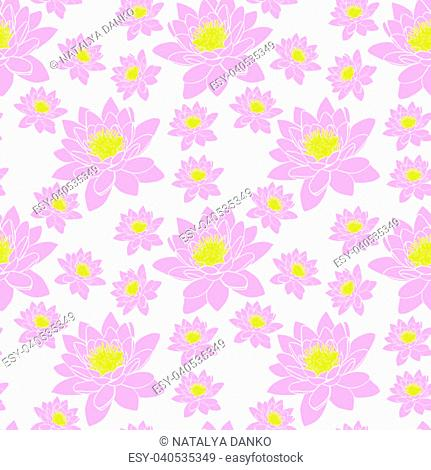 pink bud of a blooming lily, seamless pattern isolated on a white background
