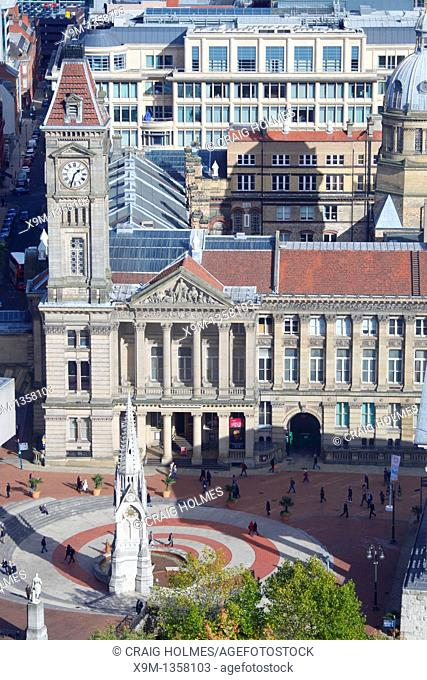 Aerial view of Chamberlain Square in the city centre, Birmingham, West Midlands, England, UK