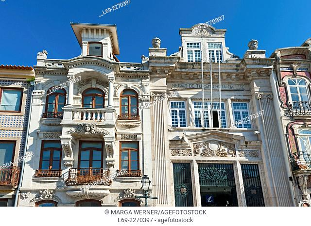 Historic Art Nouveau houses in the centre of Aveiro, North of Portugal, Europe