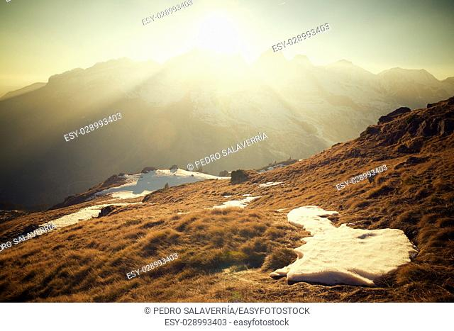 Peaks in Canfranc Valley, Pyrenees, Aragon, Huesca Province, Spain