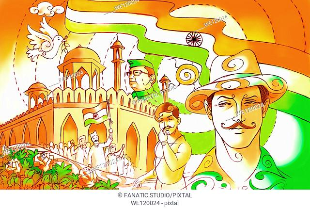 Indian freedom fighters Sardar Bhagat Singh, Chandrashekhar Azad and Subhash Chandra Bose with Red Fort
