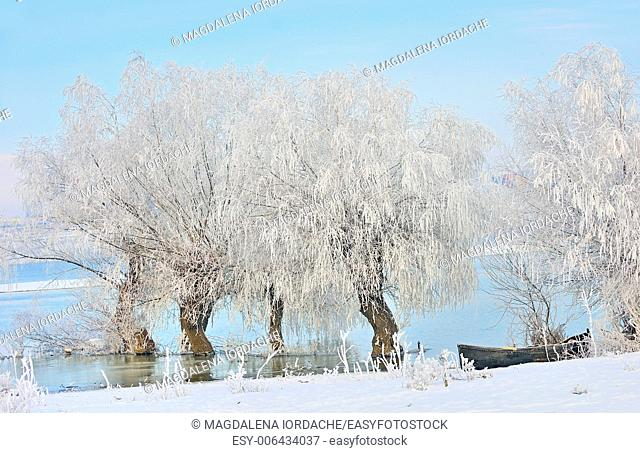 Frosty winter trees and boat near Danube river