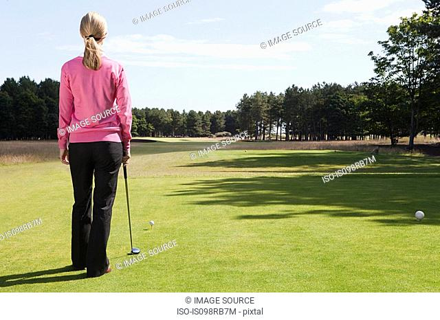 Female golfer on the fairway