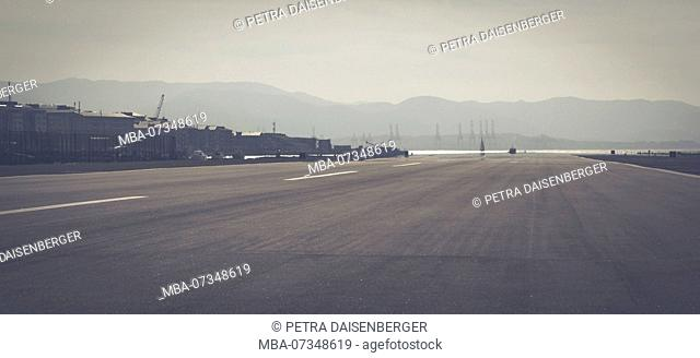 The runway of the airport in Gibraltar