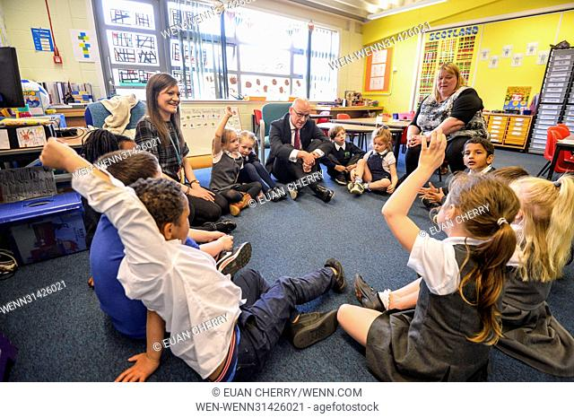 Deputy First Minister John Swinney visits Craigroyston Primary School in Edinburgh, as primary one children taking part in storytelling session