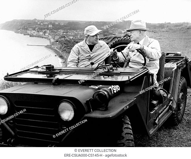 Former President Eisenhower with Walter Cronkite above Normandy's beaches. They were making a documentary, 'D-Day Plus 20 Years.' 1964