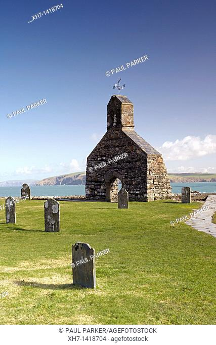 The ruined church of St Brynach at Cwm yr Eglwys, Pembrokeshire, Wales, UK