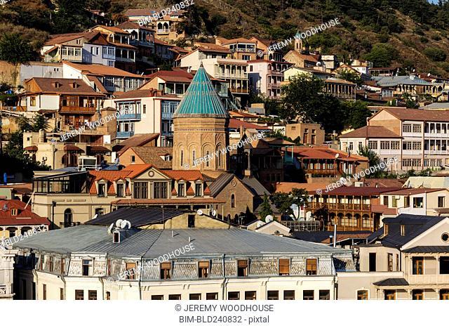 Scenic view of cityscape in Tbilisi, Georgia