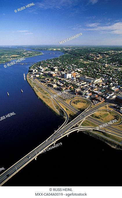 Aerial of Frederiction and St. John River, New Brunswick