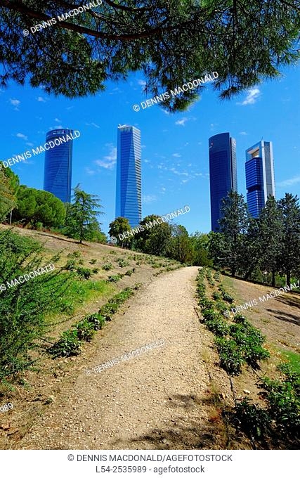 Cuatro Torres Towers Madrid Spain ES from Parque Norte