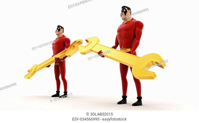 3d superhero holding golden wrench in hand concept on white background, side angle view
