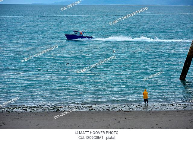 Fisherman beach fishing, Homer, Alaska, United States