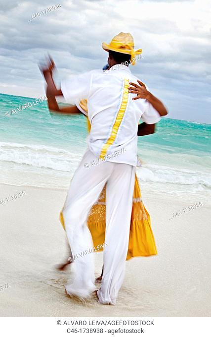 Dancing on the beach, Hotel Occidental Royal Hideaway Ensenachos, Cayo Ensenachos, near Cayo Santa Maria, Cayerias del Norte, Cuba