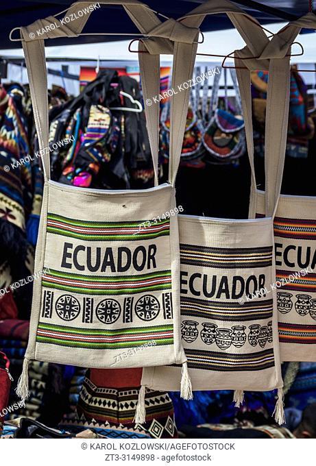 Saturday Handicraft Market, Plaza de los Ponchos, Otavalo, Imbabura Province, Ecuador