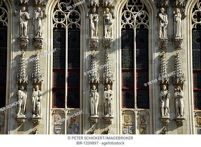 Detail of the facade of the city hall in the historic centre of Bruges, Belgium, Europe