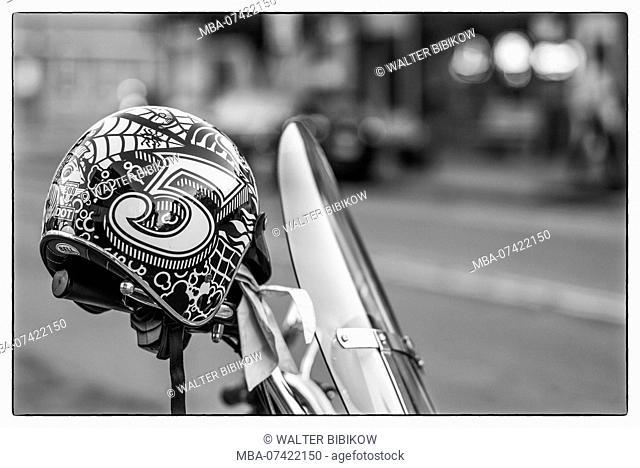 USA, New York, Finger Lakes Region, Watkins Glen, motorcycle and helment