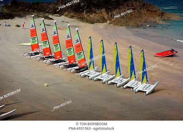 Catamarans lined up on beach at St Malo, France