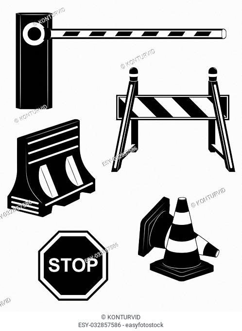 set icons road barrier black silhouette vector illustration isolated on white background
