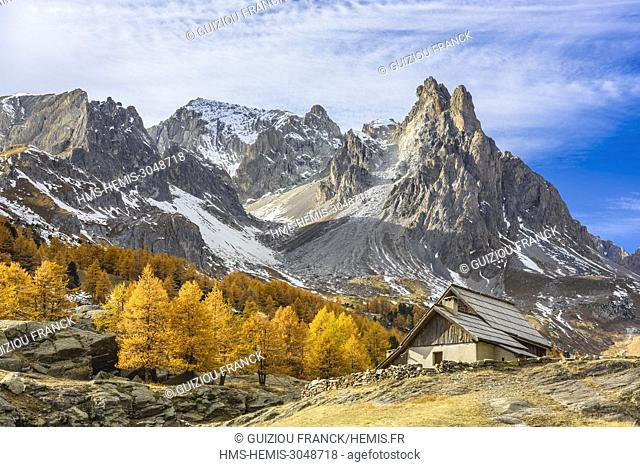 France, Hautes Alpes, Brianconnais in fall, Claree valley, Laval hamlet and Cerces massif in the background