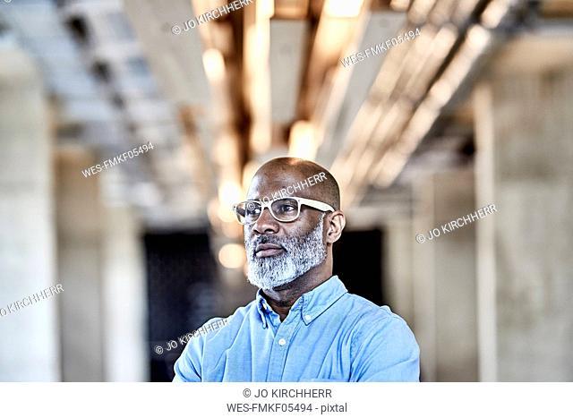Mature businessman in modern office thinking