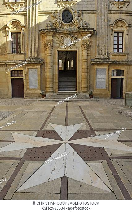 forecourt of Vilhena Palace housing the National Museum of Natural History, Mdina, Malta, Mediterranean Sea, Southern Europe
