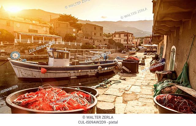 Fishing boats moored in harbour, Centuri, Corsica, France
