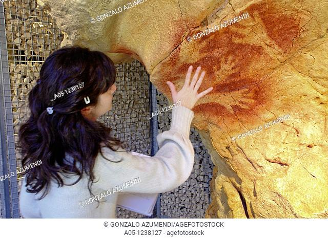 Reproduction of paintings of ' Cueva de la Fuente de Salin' in National Museum and Research Center of Altamira  Hands  Between 25 000 and 21 000 years ago...