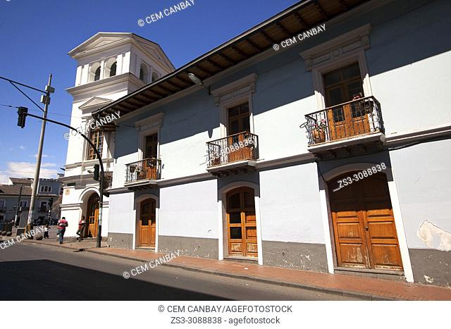 Streer scene with balconies at the historic center, Quito, Ecuador, South America