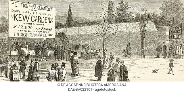 Scene on Easter Monday outside Cumberland Gate, The earlier opening of Kew Gardens, England, United Kingdom, illustration from the magazine The Graphic